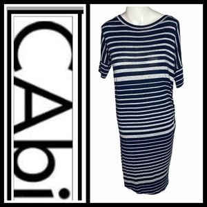 Cabi Navy and Gray striped casual dress